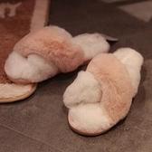 女生拖鞋 ins少女心夏季日式簡約拼色兔絨家居拖鞋室內防滑居家鞋輕奢涼拖【快速出貨好康八折】