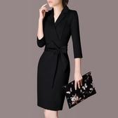 長袖洋裝 春秋新款長袖洋裝女裝修身顯瘦OL氣質職業裝正裝包臀裙子女  poly girl