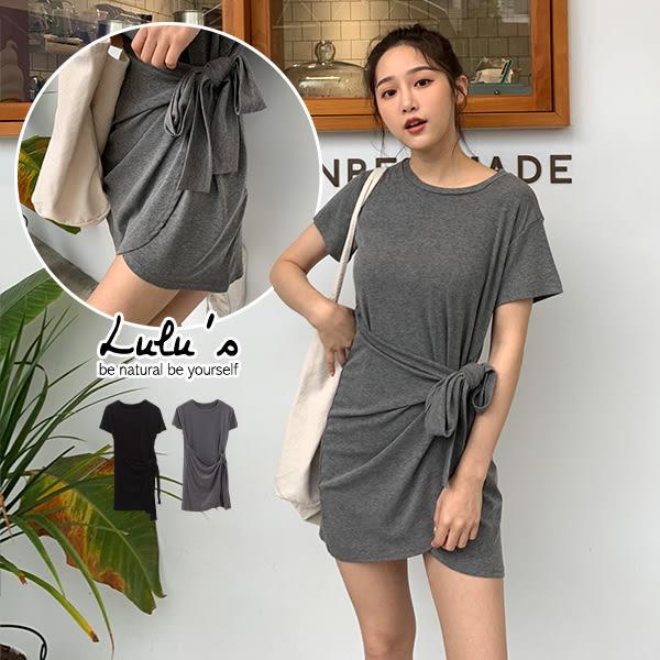 LULUS-Y綁帶短袖洋裝-2色  【02190037】