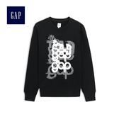Gap男裝 logo長袖套頭衛衣512142-正黑色