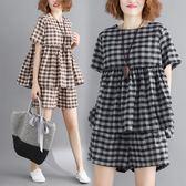 微胖女裝大尺碼短袖短褲套裝女秋冬洋氣時尚韓版顯瘦兩件套