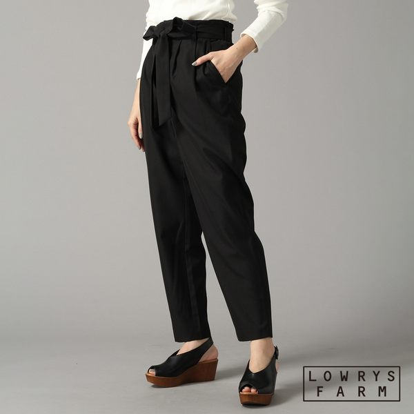 LOWRYS FARM素色格紋修身蝴蝶結老爺褲長褲-五色