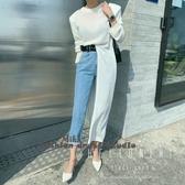 依酷衫 針織衫 春秋裝新款時尚大開叉純色墊肩長款針織T恤薄毛衣圓領寬鬆