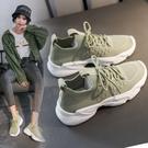 休閒鞋 2021春季透氣運動鞋女軟底輕便防滑網面黑色休閒單鞋子平底跑步鞋「草莓妞妞」