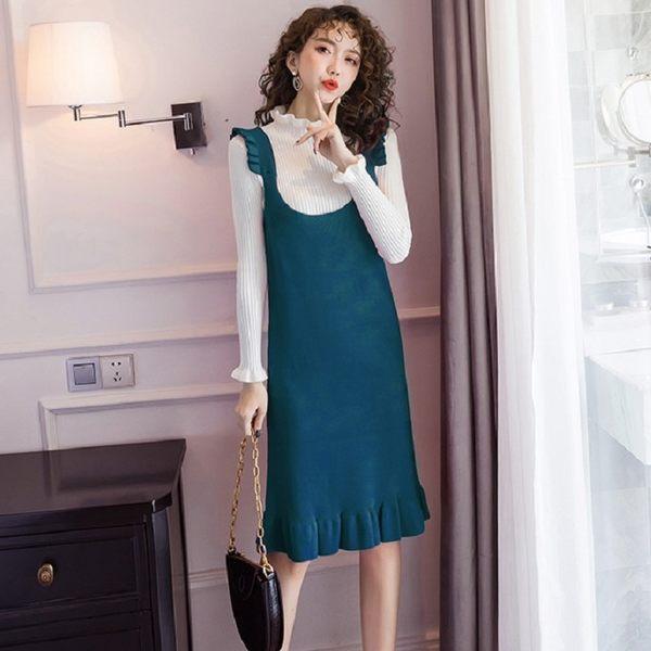 波浪立領毛織衣+顯瘦亮色大U領顯瘦兩件套背心裙(上衣+背心裙)[98935-QF]美之札