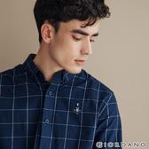 【GIORDANO】 男裝經典刺繡彈力牛津紡長袖襯衫-80 海軍藍/白格紋