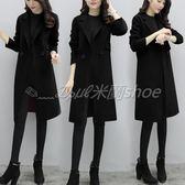 毛呢大衣 秋冬新款韓版風寬松呢子大衣加厚黑色毛呢外套中長款  米蘭shoe