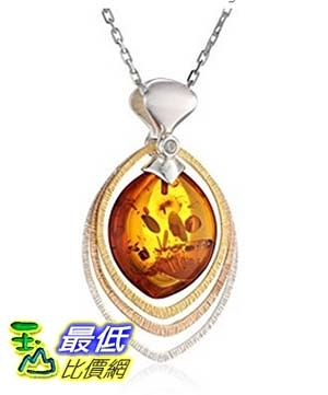 [美國直購] Rhodium Plated Sterling Silver Gold Plated Accents Honey Amber Drop Pendant Necklace, 18 項鍊