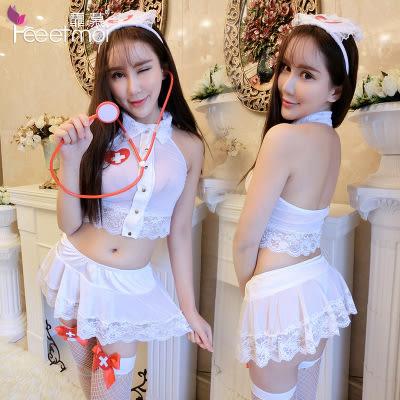 【預購】性感露背透明掛脖小護士套裝 情趣內衣 護士服 護士 情人節 F07970