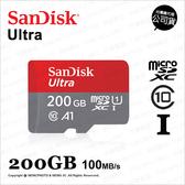 Sandisk Ultra MicroSD SDXC 200GB 200G 100MB A1 記憶卡 公司貨★可刷卡★薪創