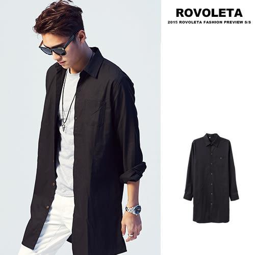 素色長版罩衫外套【EV-C209】(ROVOLETA)