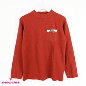 【SHOWCASE】雙色袖口蝴蝶結口袋合身針織上衣(紅)