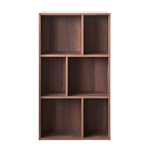 【TZUMii】創意六格三層櫃-胡桃木色