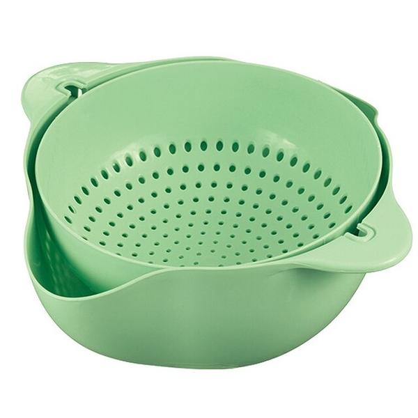 小禮堂 圓形旋轉瀝水籃組 (綠色款) 4527231-05928
