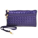【Miyo】壓編織紋拉鍊手拿錢包(紫)