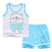 淡藍素面熊套裝 男童兩件式 上衣+短褲(80-110cm) 【巴布百貨】