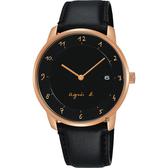 agnes b. 法國時尚簡約手錶-白x金框x黑/38mm VJ42-KZ30C(BS9006J1)
