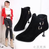 靴子女士細跟性感短靴貓跟尖頭高跟鞋百搭 小艾時尚