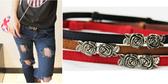 ★依芝鎂★H443細腰帶復古可調節細緻立體玫瑰花對扣細腰帶皮帶,售價128元