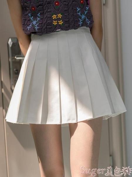 百摺裙 EGGKA灰色百摺半身裙女春季高腰遮胯顯瘦a字西裝短裙黑色學院風 suger