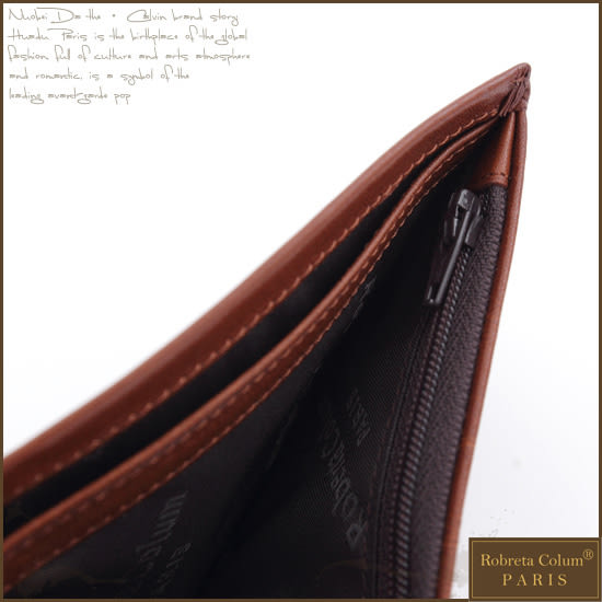 Roberta Colum - 原皮質感簡約內藏拉鍊子母夾短夾
