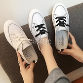 半拖鞋女夏新款韓版學生平底包頭涼拖時尚外穿厚底小白鞋