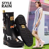雨鞋女韓國可愛中筒時尚英倫啞光橡膠水靴防水鞋防滑水鞋成人雨靴【步行者戶外生活館】