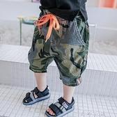 男童短褲夏薄款小童休閒褲潮男兒童褲子寶寶夏裝迷彩男幼兒七分褲   米娜小鋪