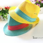 正韓親子爵士帽子英倫夏天女童帽子男童草帽遮陽禮帽親子潮帽