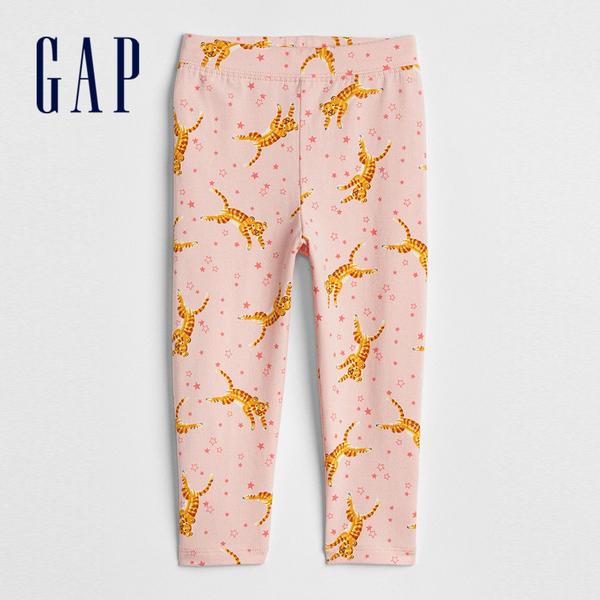Gap 嬰兒 舒適縮口條紋圖案九分內搭褲 259427-老虎圖案