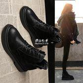 馬丁靴  馬丁靴女英倫風學生韓版百搭復古女靴春秋單靴子黑色加絨短靴平底 『伊莎公主』