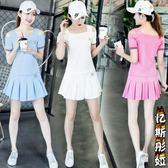 網球服幼師服 短袖女士褲裙學生休閒 服羽毛球網球服幼師服兩件套裝S 5xL