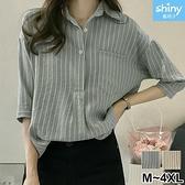 【V2525】shiny藍格子-文青女孩.條紋口袋寬鬆七分袖襯衫上衣