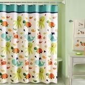 衛生間浴簾套裝浴室遮擋掛簾子隔斷防水窗簾布加厚防霉卡通免打孔HRYC【快速出貨】