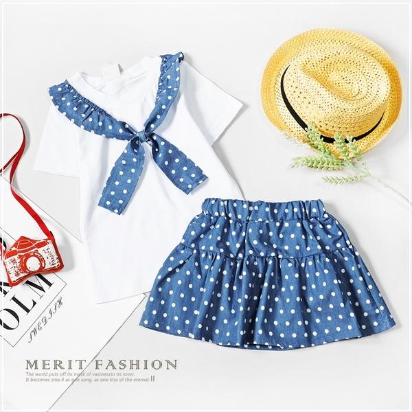 夏日點點水藍牛仔兩件式套裝 丹寧 女童 春夏 傘裙 上衣