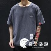 短袖T恤-新款日繫棉麻圓領短袖t恤男寬鬆大碼亞麻薄款運動5分半袖-奇幻樂園