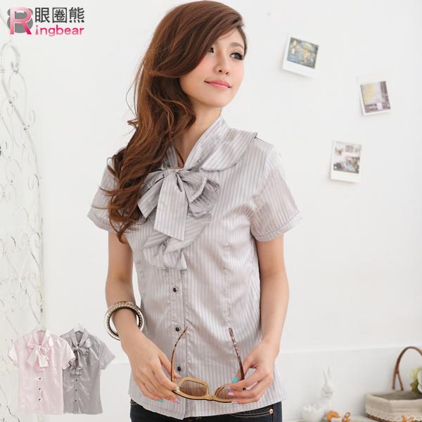襯衫--OL專業優雅直紋緞面荷葉邊襯衫上衣(粉S-XL)-H101眼圈熊中大尺碼◎