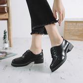 英倫復古女娃娃鞋系帶小皮鞋女  百搭粗跟黑色單鞋英倫復古學生平底女鞋99