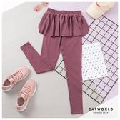 Catworld 純色高腰假兩件運動褲【12002065】‧S/M/L
