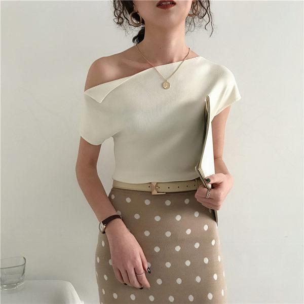 EASON SHOP(GW2558)韓版純色一字領露肩斜肩短版短袖冰絲針織衫女上衣服彈力貼身內搭衫顯瘦平口綠色