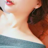 S925純銀花朵波浪耳線女長款網紅款氣質韓國小清新簡約超仙耳環女【櫻花本鋪】
