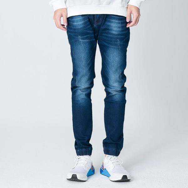 【OBIYUAN】韓版牛仔褲 縮口褲 抓痕 洗色丹寧褲 束口長褲 【SP0036】