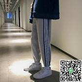 運動束腳褲男寬鬆條紋百搭休閒褲純色衛褲【海阔天空】