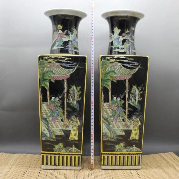 清康熙黑地粉彩人物故事天圓地方花瓶 仿古瓷器古董古玩擺件收藏1入