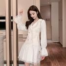 VK精品服飾 韓系甜美優雅網紗拼接小香風外套長袖洋裝