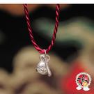 精進木魚(925純銀)紅繩項鍊【 十方佛教文物】