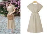 大尺碼洋裝V領裙收腰裙XL-5XL歐美外貿大碼女裝胖MM收腰長款連衣裙2F029.8095愛尚布衣