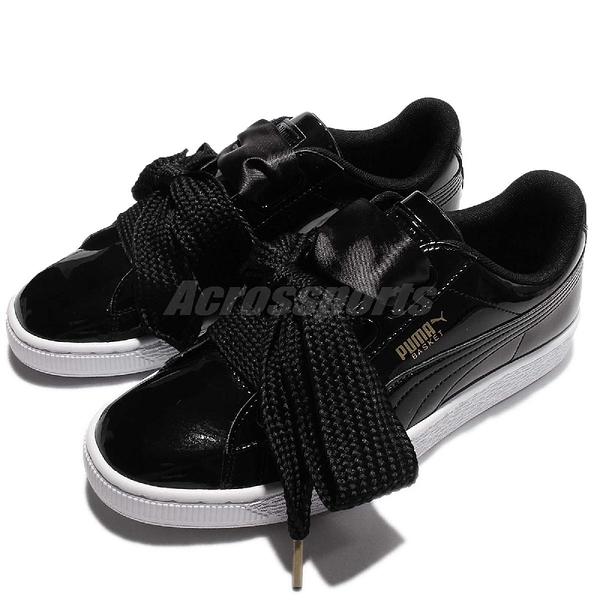 【六折特賣】Puma Basket Heart Patent Wns 黑 白 漆皮 緞帶鞋 運動鞋 女鞋【PUMP306】 36307301