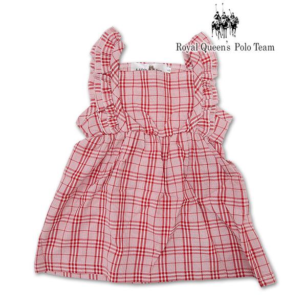 女童 紅色格紋 無袖洋裝 連身裙 [3055-8] RQ POLO 小童 5-15碼 童裝 現貨