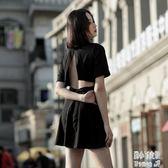性感夜店洋裝 歐盧暗黑系女裝原宿黑色日系復古女裝性感套裝連身裙露背V領 ZJ6111【潘小丫女鞋】